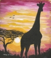 Giraffe Alone at Dusk