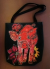 Artist Orig Design Bag THE PIG, THE FLOWERS AND THE MOONLIGHT